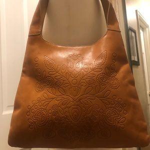 Vintage Camel Genuine Leather Tooled Shoulder Bag
